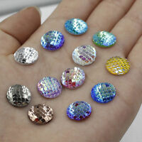 100PCS Mixed Multi-Purpose Resin Fish Scale Cabochon Flatback Cellphone DIY 12mm