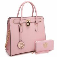 Women Handbags Faux Leather Tote Bag Padlock Shoulder Purse w/ Matching Wallet