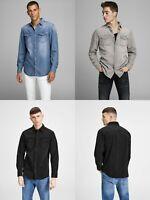 Jack & Jones Mens Denim Pocket Long Sleeve Cotton Shirt Slim Fit  JJESHERIDAN
