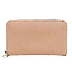 BVLGARI Leather Long Wallet Purse Round Zip Pink Beige Silver Italy