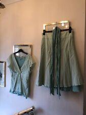 Inwear Greens Cotton Layered Summer A-Line Skirt & Short Sleeve Top & Belts,L