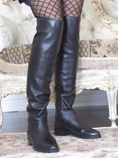 STUART WEITZMAN ROCKERCHIC Black Lamb Leather High Over the knee Boots 7,5 M