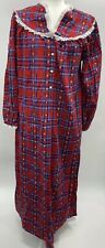 New Vintage Lanz of Salzburg Night Dressing gown Size Small Plaid Flannel Hearts