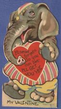 """1940s Die-Cut Valentine - Circus Elephant card, appoximately5 1/2"""" tall"""