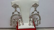 Beautiful Round CZ Pave Set Large Chandelier Dangle  Earrings Silver