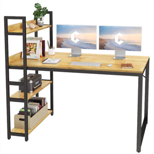 Cubicubi Computer Desk 55 inch with Storage Shelves Study Writing Table for Home
