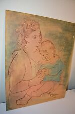 Pablo Picasso 1922 Mother Child Abstract Art Pastel On Board Print VTG 40s 50s