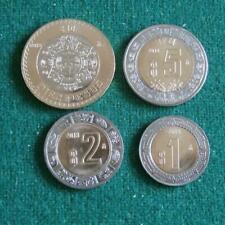 2018 MEXICO BIMETALLIC SET 4 coins 1,2,5 &10 peso aztec calendar BU 5 lots