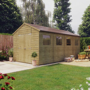 16x8 Pressure Treated Hobbyist Apex Windowed Double Door Garden Shed Tall Shed
