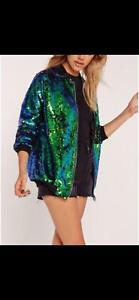 New sequin glitter bomber Ladies club dance party festival costume biker jacket