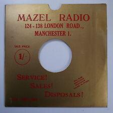 "78rpm 10"" card gramophone record sleeve  MAZEL RADIO gold metallic MANCHESTER"