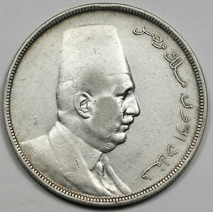 Egypt AH1341 1923 20 Piastres 28 Gram Silver Coin XF KM#338 Crown Size Scarce