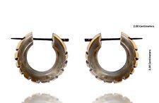 Ethnic Wooden Handmade Tribal Black & Gray Organic Wood Stick Earring WER281