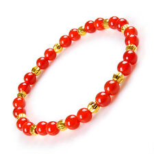 Elegant Red Agate Beads & Pure 999 24K Yellow Gold 4mm Carved Beads Bracelet