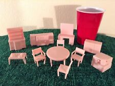 Vintage Superior Plastic Dollhouse Furniture. Dining Room. All Pink