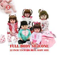 """22"""" Full Body Soft Silicone Reborn Toddler Girl Princess Doll Bath Doll Toy"""