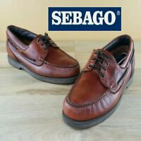 💥Sebago Docksides Hand Made Size 15M Brown Lace Up Boat Leather Mens Shoes