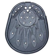 NUOVO Design Celtico in pelle nera Sporran con s / catena Kilt & Cintura cornamusa