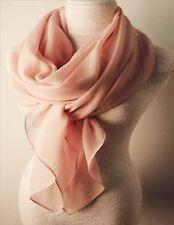 Chiffon Stola Schal Hijab Bolero Abendkleid Tuch Hochzeit Seide Creme 90x180