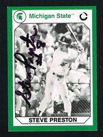 Steve Preston 1990 Michigan State Collegiate Collection signed autograph Card