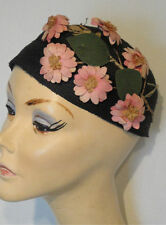 Vintage Navy Blue Straw Hat Crown with Pink Silk Floral Spray