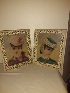 2 Antique Ivory Wooden Frame Huldah Style French Lady Girl Needlepoint Picture
