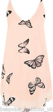 Ladies Women's Plus Size Butterfly Print Sleeveless DIP Hem Lined Vest Top 14-28 Peach 26-28
