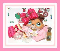 ❤️Littlest Pet Shop LPS Custom 8 PC Skirt Bow PINK Accessory Clothes NO PET❤️