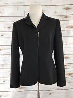 Tahari by ASL Blazer Size 6P Petite Black Zip Up