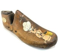 "Antique Hand Painted Folk Art Cobbler Wood Shoe Form Pig Cook ""How Sweet It is"""