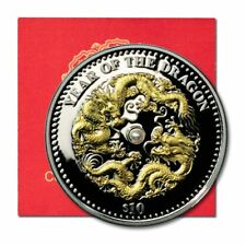 Fiji Year of the Dragon Embedded Pearl $10 2012 1 oz Gilded Proof Silver Crown C
