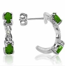EMERALD & DIAMOND .70 CWT EARRINGS NATURAL STONES SILVER 925 WHITE GOLD LOOK