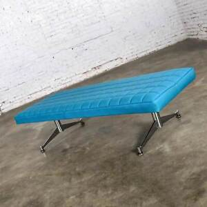 Madison Furn Vinyl Faux Leather Turquoise & Chrome Bench Daybed Style A. Umanoff