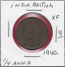 INDIA BRITISH 1/4 ANNA 1940. VF GEORGE VI FIRST HEAD,HIGH RELIEF,DATE AND DENOMI