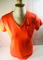 Fila Womens Orange Active Wear V Neck Shirt Top Sz Medium M