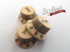 SET OF 3 AGED RELIC FENDER IVORY/CREAM KNOBS VINTAGE STRATOCASTER 59 PARTS