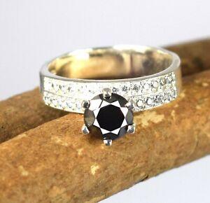 Black Diamond 3.38 Ct.  Solitaire Men's Ring-Gift For Husband,Partner