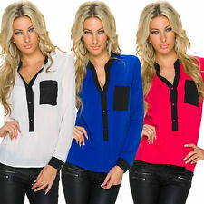 Langarm Damenblusen, - tops & -shirts mit Rollkragen ohne Muster