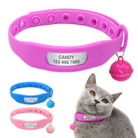Waterproof Personalized Cat Collar Tag Custom Cat Name ID Engraved Rubber