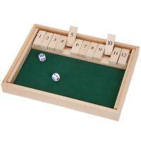 HöLzerne Shut The Box 12 WüRfel Spiel Brett, Holz Brett Spiel mit WüRfeln f Z6W9