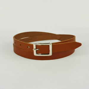 "Tan Real Leather Belt Skinny Brown Womens Belt Handmade Bright 3/4"" Ladies 20mm"