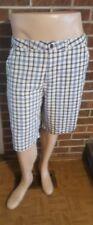 Caribbean Joe Blue & White Plaid Casual Flat Front Shorts Size 36
