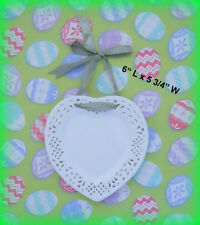 "MICHAELS *NEW* WHITE PIERCED HANGING PORCELAIN HEART PLATE W/ RIBBON 6"" x 5 3/4"""