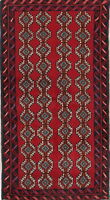 Balouch Oriental Area Rug Geometric Handmade Red Wool Runner Carpet 3x6
