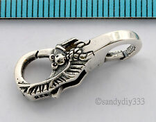 1x OXIDIZED STERLING SILVER GIANT TRIGGER LOCK LOBSTER CLASP BAT BEAD 24mm #2665