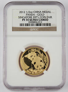 China 2012 Singapore Coin Fair 1/2 Oz 999 Gold Medal Coin NGC PF70 Perfect Grade