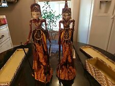 Pair of Beautiful Indonesian Marionette Dolls