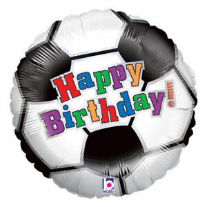 "PALLONCINO MYLAR SOCCER BALL HAPPY BIRTHDAY 18"" / 46 cm PARTY FESTA COMPLEANNO"