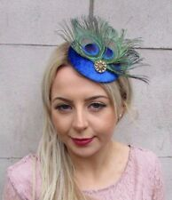 Electric Cobalt Blue Gold Peacock Feather Pillbox Hat Fascinator Hair Clip 4521
