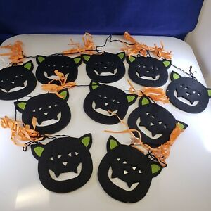 Halloween Decor  Party Black Cat Garland Lot of 2 Extends 4ft Each  ADORABLE!!🎃